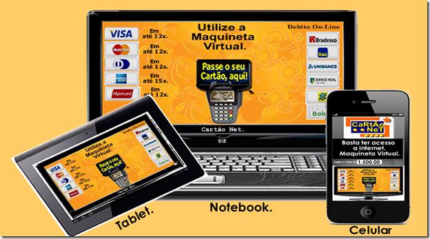 Cartão Net Maquina Virtual de Cartão de Crédito Celular Tablet Smartphone